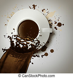 caffè, versamento, tazza, vendemmia, stile, fuori, 3d