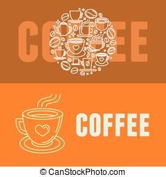 caffè, vettore, bandiere