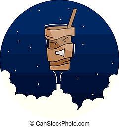 caffè, vettore, contenitore, cartone animato