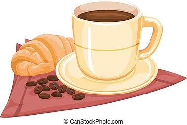caffè, vettore, croissants., tazza