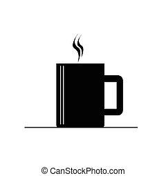 caffè, vettore, nero, caldo, tazza