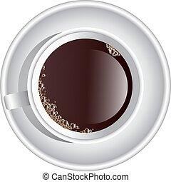 caffè, vettore, vista, cima, tazza