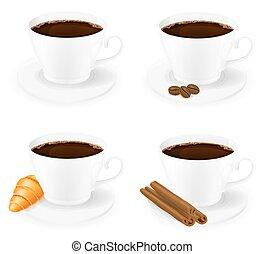 caffè, vettore, vista, lato, tazza