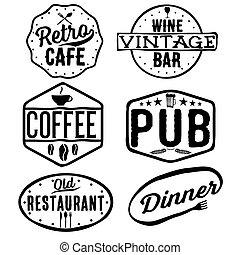 caffè, vino, emblemi, set, vendemmia, sbarra, ristorante