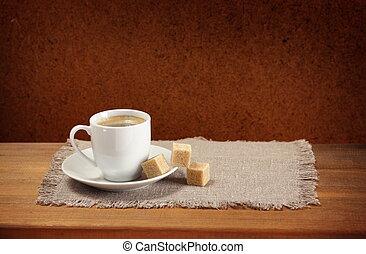 caffè, zucchero, tovagliolo, piattino, tazza