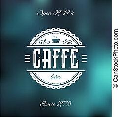 caffe, barre, étiquette