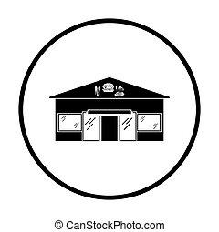 Caffe in amusement park icon. Thin circle design. Vector...