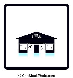 Caffe in amusement park icon. Shadow reflection design....