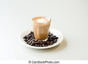 Caffe Latte - An isolated photo of a glass of coffee latte.