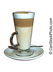 Caffe latte (coffee) in a glass, isolated on a pure white ...
