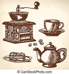 caffe set - Items for cooking and drinking coffee. Drawing.