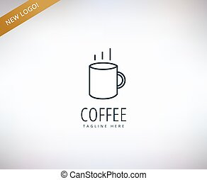 Caffee vector logo icon. Caffe, drink or restaurant and cup...