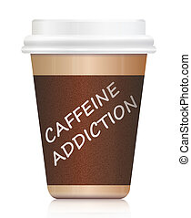 Caffeine addiction. - Illustration depicting a single coffee...