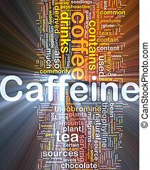 Caffeine background concept glowing