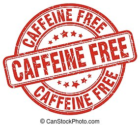caffeine free red grunge stamp