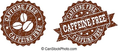 Caffeine Free Stamp Seals with Grunge Texture in Coffee Color