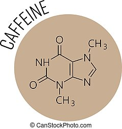 Caffeine molecule. Chemical skeletal formula designed in the beige circle as icon. Cafe, coffee theme or logo. Vector illustration