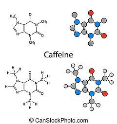 Caffeine molecule - structural chemical formulas and models, skeletal & circles and sticks styles, 2d illustration, isolated on white background, vector, eps8