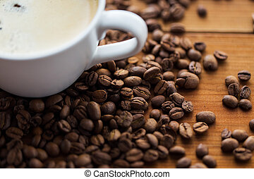 close up coffee cup and beans on wooden table