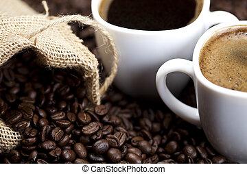Coffee over dark roasted coffee beans