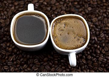 Caffeine overdose - Coffee over dark roasted coffee beans