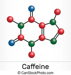 Caffeine, purine alkaloid, psychoactive drug molecule. Paper...