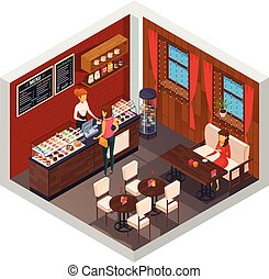 Caffeteria Restaurant Isometric Composition
