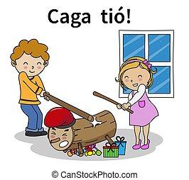 Caga tio. Traditional Christmas Celebration in catalunya