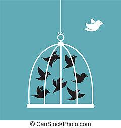 cage., イメージ, 外, ベクトル, おりの 鳥