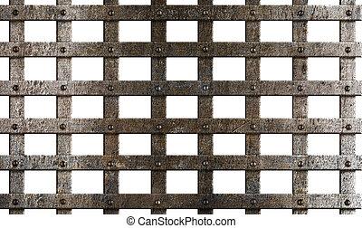 cage, blanc, ancien, métal, isolé