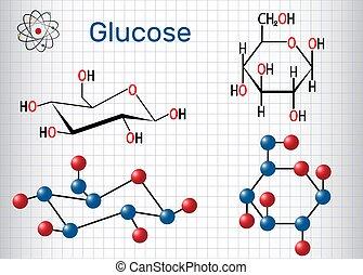 Chemische Formel Modell Strukturell Traubenzucker