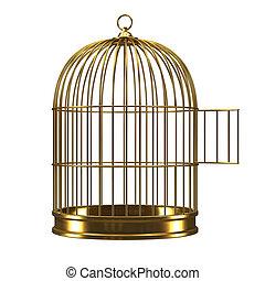 cage d'oiseaux, 3d, ouvert, doré
