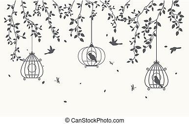 cage d'oiseaux, feuilles, silhouette, fond