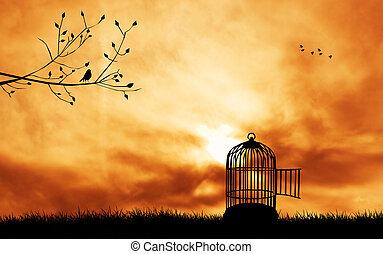cage d'oiseaux, silhouette