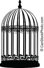 cage d'oiseaux, vecteur, illustration