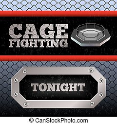 Cage Fighting. MMA Poster. Banner