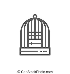 Cage for birds line icon.