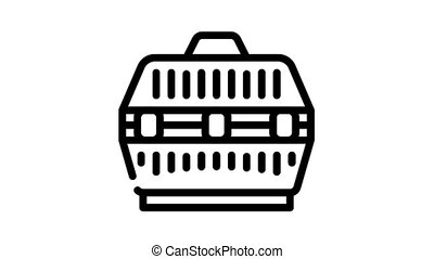 cage for transportation domestic animal animated black icon. cage for transportation domestic animal sign. isolated on white background