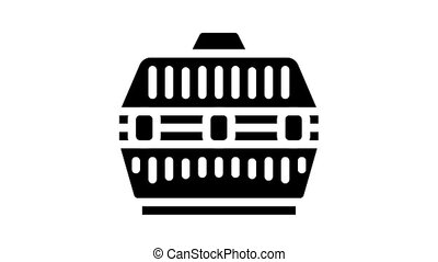 cage for transportation domestic animal animated glyph icon. cage for transportation domestic animal sign. isolated on white background