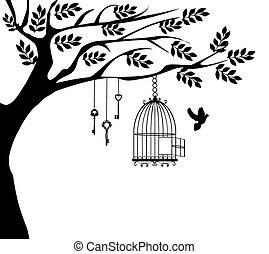 cage oiseau, arbre, colombe