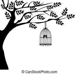 cage oiseau, arbre