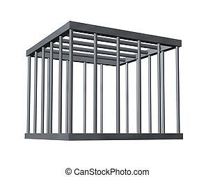 cage on white background - 3d illustration