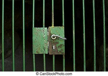 cage, porte, verrouillé