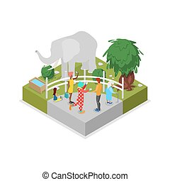 Cage with elephant isometric 3D icon