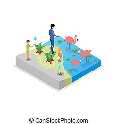 Cage with flamingos isometric 3D icon