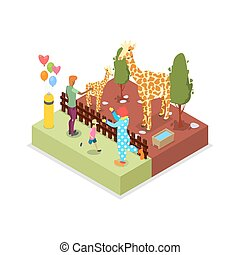 Cage with giraffes isometric 3D icon