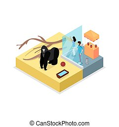 Cage with gorilla isometric 3D icon