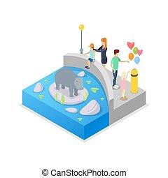 Cage with hippopotamus isometric 3D icon