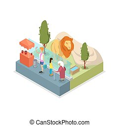 Cage with lion isometric 3D icon