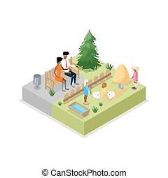 Cage with rabbits isometric 3D icon